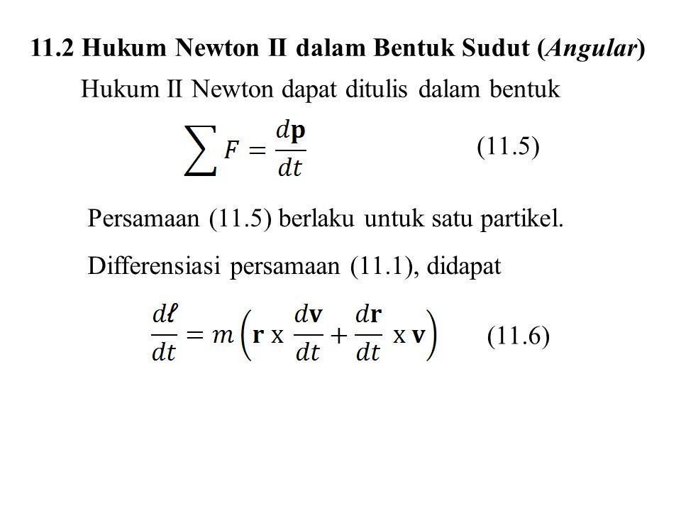 11.2 Hukum Newton II dalam Bentuk Sudut (Angular) Hukum II Newton dapat ditulis dalam bentuk (11.5) Persamaan (11.5) berlaku untuk satu partikel.
