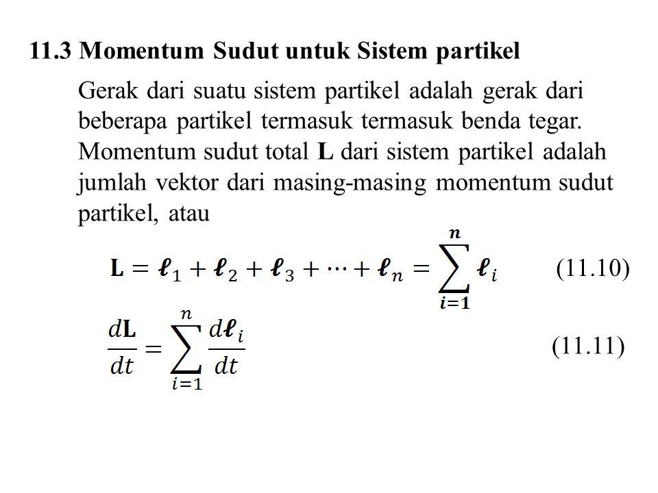 11.3 Momentum Sudut untuk Sistem partikel Gerak dari suatu sistem partikel adalah gerak dari beberapa partikel termasuk termasuk benda tegar. Momentum