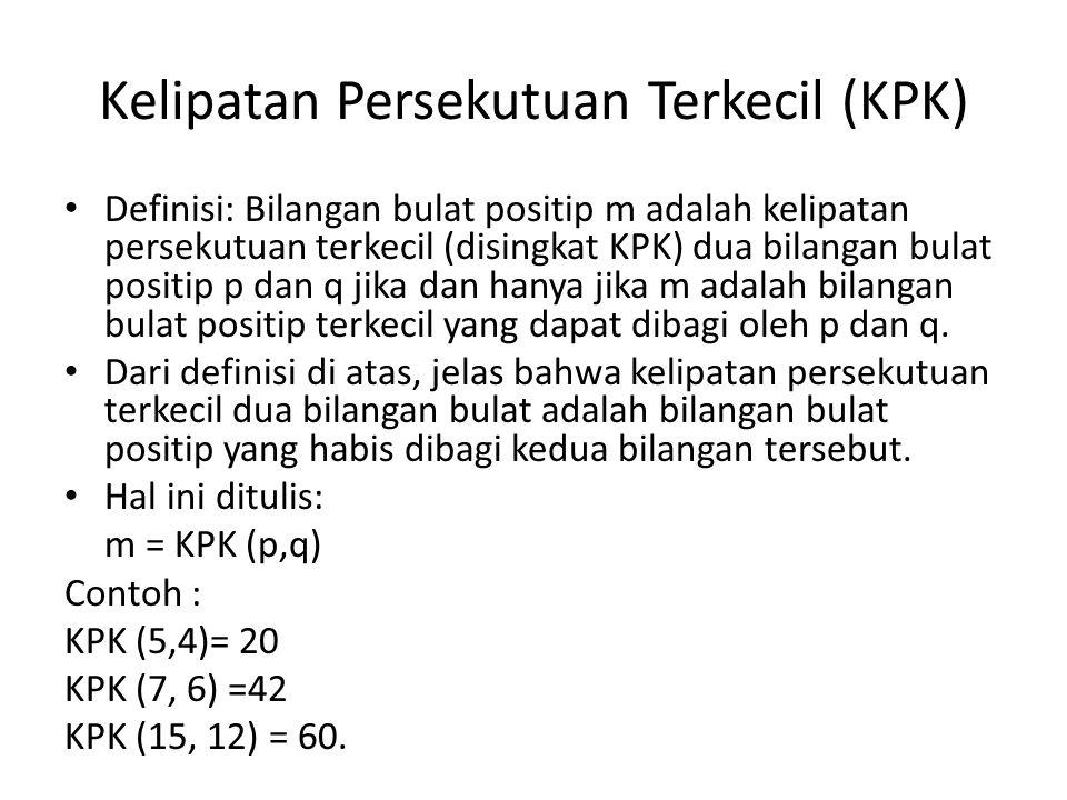 Kelipatan Persekutuan Terkecil (KPK) Definisi: Bilangan bulat positip m adalah kelipatan persekutuan terkecil (disingkat KPK) dua bilangan bulat positip p dan q jika dan hanya jika m adalah bilangan bulat positip terkecil yang dapat dibagi oleh p dan q.