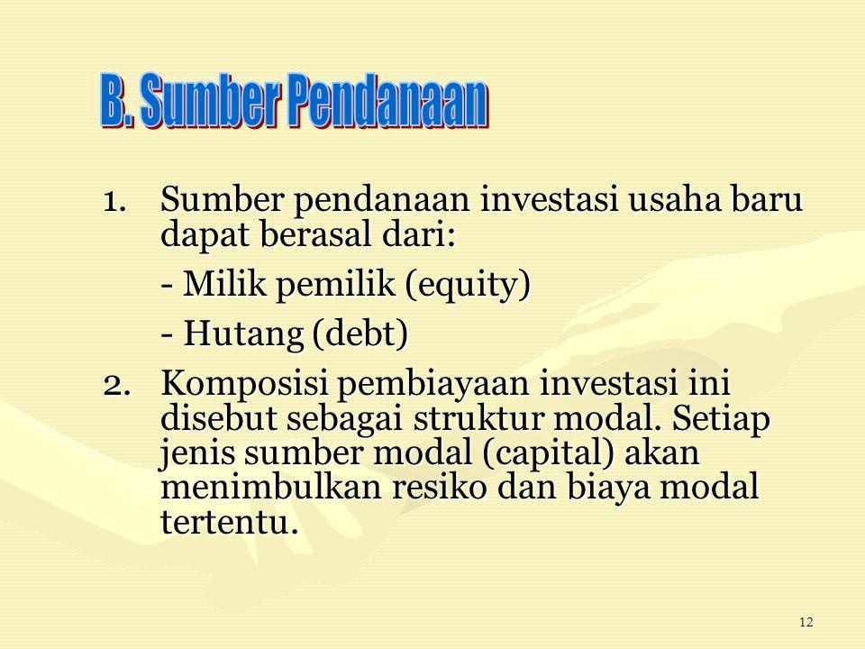 12 1.Sumber pendanaan investasi usaha baru dapat berasal dari: - Milik pemilik (equity) - Hutang (debt) 2.Komposisi pembiayaan investasi ini disebut s