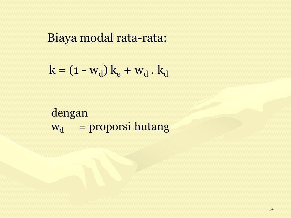 14 Biaya modal rata-rata: Biaya modal rata-rata: k = (1 - w d ) k e + w d. k d dengan w d = proporsi hutang