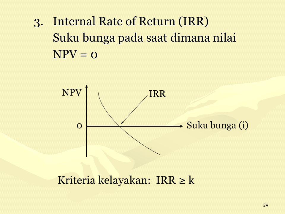 24 3.Internal Rate of Return (IRR) Suku bunga pada saat dimana nilai NPV = 0 Suku bunga (i) NPV Kriteria kelayakan: IRR ≥ k IRR 0