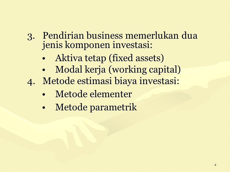 4 3.Pendirian business memerlukan dua jenis komponen investasi: Aktiva tetap (fixed assets)Aktiva tetap (fixed assets) Modal kerja (working capital)Modal kerja (working capital) 4.Metode estimasi biaya investasi: Metode elementerMetode elementer Metode parametrikMetode parametrik