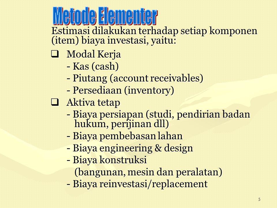 5 Estimasi dilakukan terhadap setiap komponen (item) biaya investasi, yaitu:  Modal Kerja - Kas (cash) - Piutang (account receivables) - Persediaan (