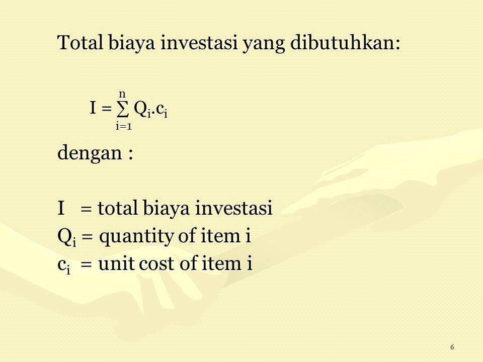 7 I = f ( t, C, l ) dengan t = waktu C= kapasitas l= lokasi I= biaya investasi