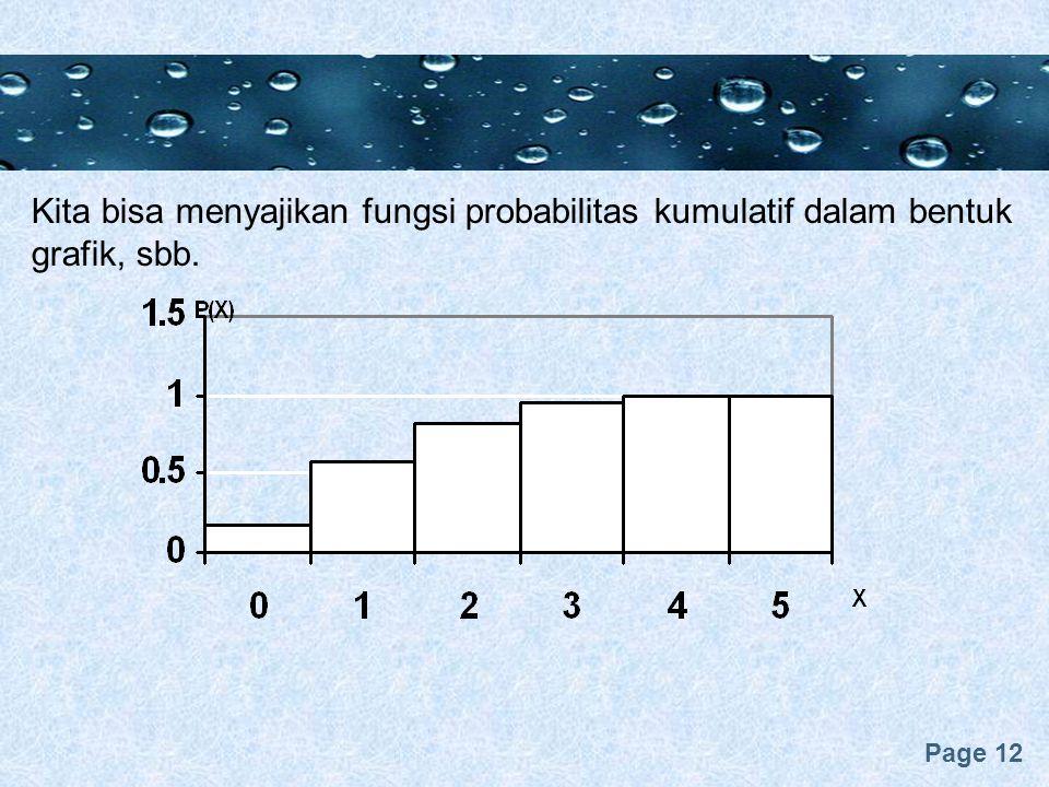 Page 12 Kita bisa menyajikan fungsi probabilitas kumulatif dalam bentuk grafik, sbb.