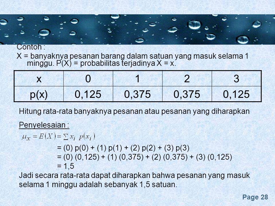 Page 28 Contoh : X = banyaknya pesanan barang dalam satuan yang masuk selama 1 minggu. P(X) = probabilitas terjadinya X = x. x0123 p(x)0,1250,375 0,12