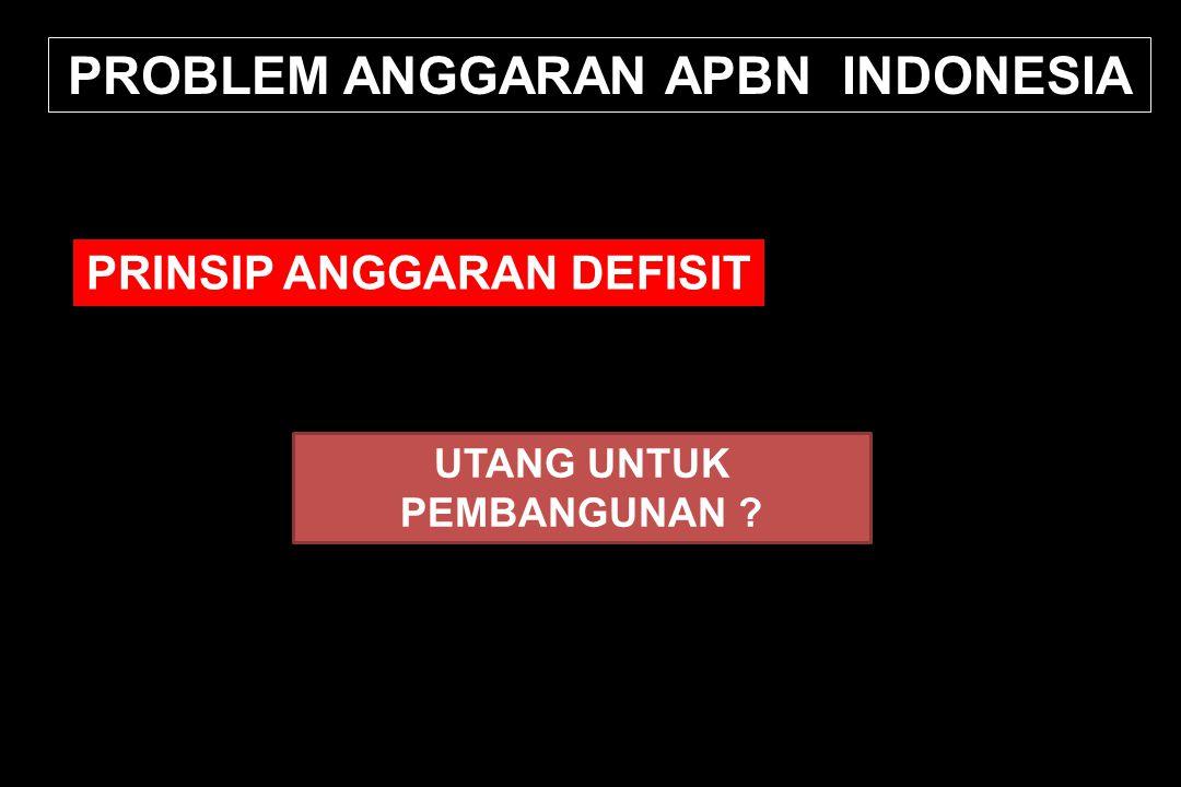PROBLEM ANGGARAN APBN INDONESIA PRINSIP ANGGARAN DEFISIT UTANG UNTUK PEMBANGUNAN