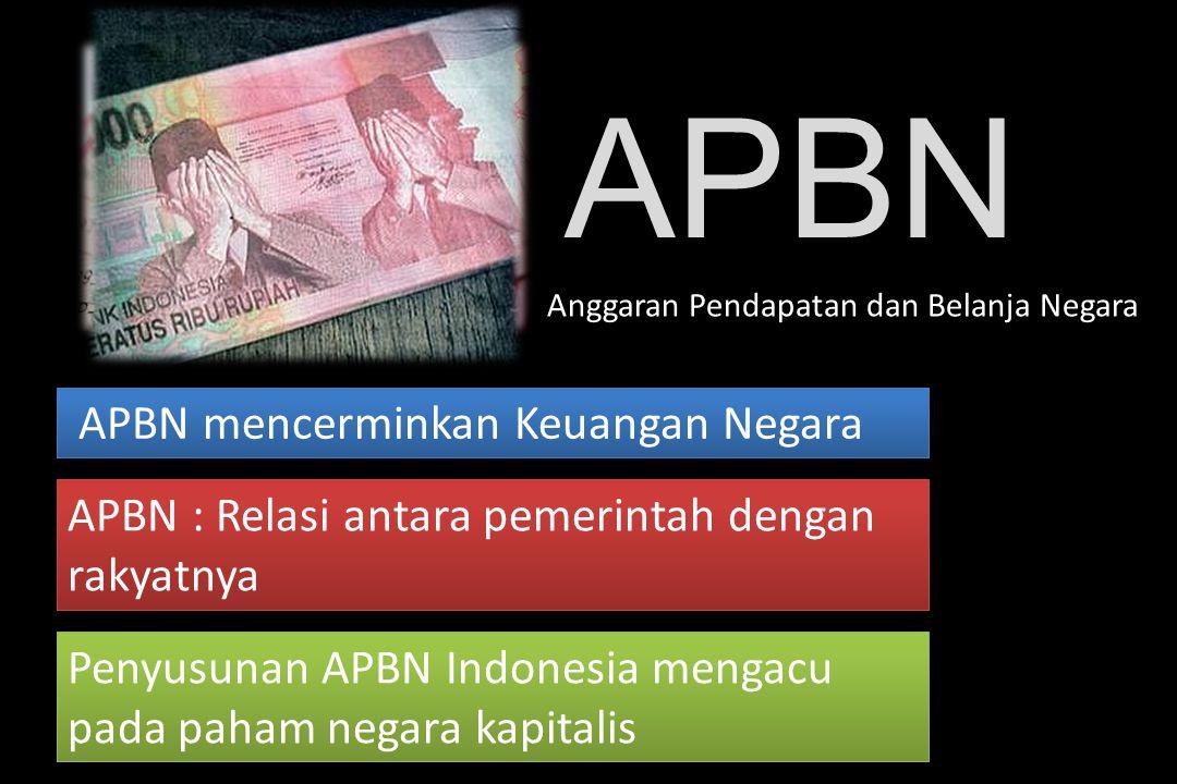 Penyusunan APBN Indonesia mengacu pada paham negara kapitalis APBN mencerminkan Keuangan Negara APBN : Relasi antara pemerintah dengan rakyatnya APBN Anggaran Pendapatan dan Belanja Negara