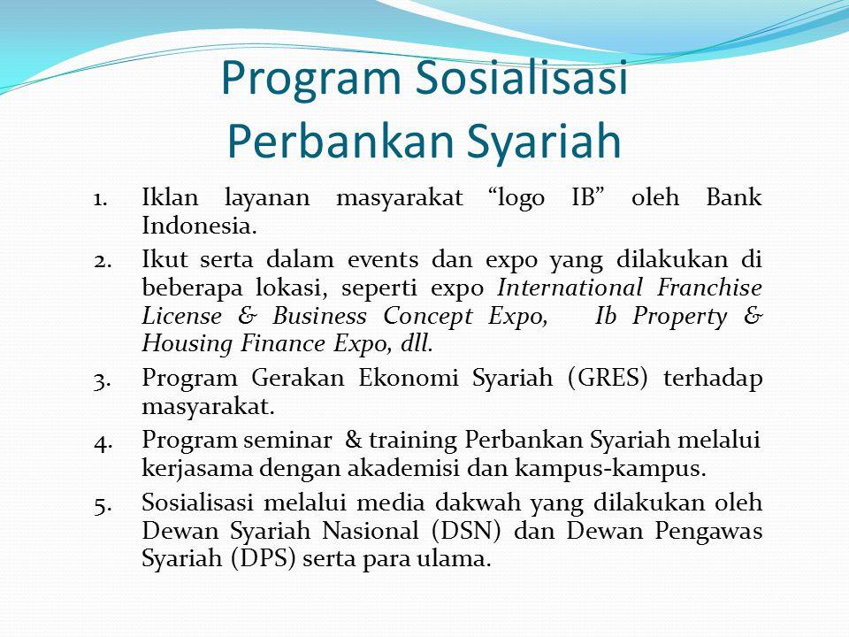 """Program Sosialisasi Perbankan Syariah 1.Iklan layanan masyarakat """"logo IB"""" oleh Bank Indonesia. 2.Ikut serta dalam events dan expo yang dilakukan di b"""