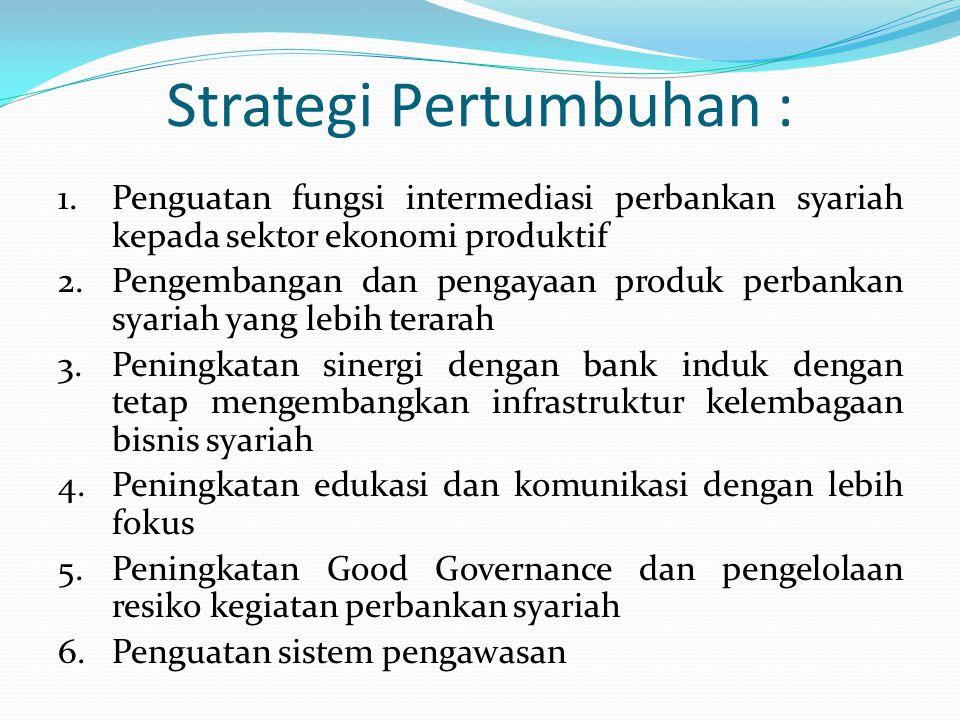 Strategi Pertumbuhan : 1.Penguatan fungsi intermediasi perbankan syariah kepada sektor ekonomi produktif 2.Pengembangan dan pengayaan produk perbankan