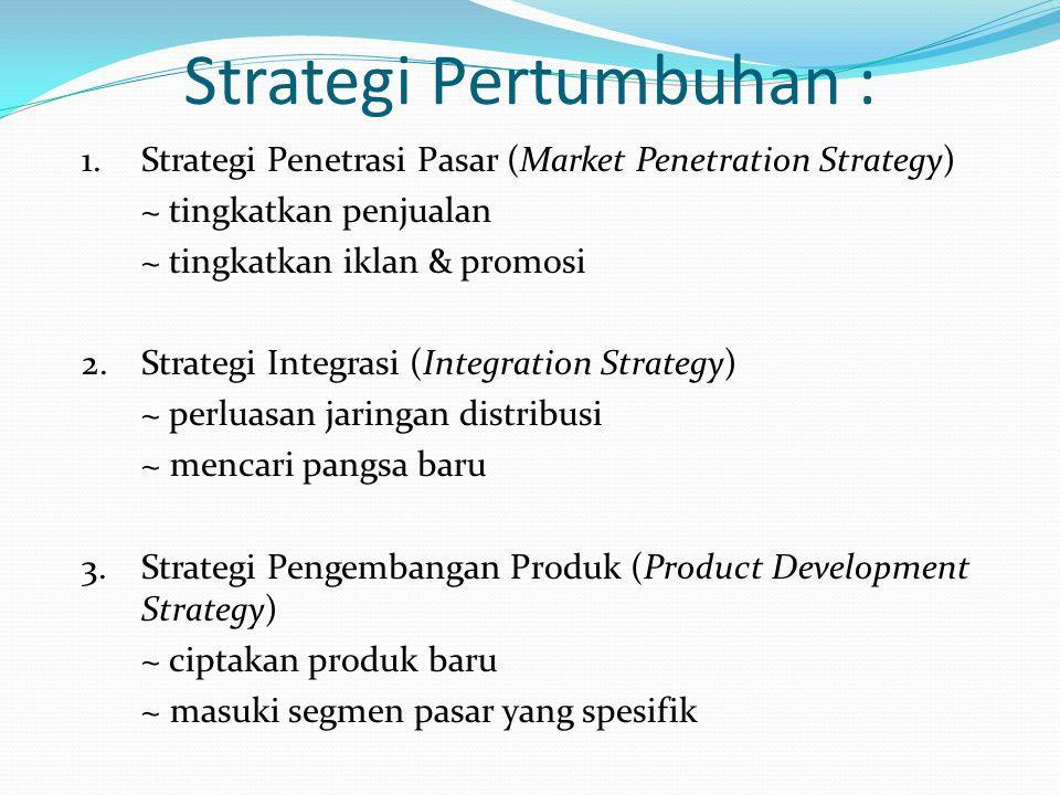 Strategi Pertumbuhan : 1.Strategi Penetrasi Pasar (Market Penetration Strategy) ~ tingkatkan penjualan ~ tingkatkan iklan & promosi 2.Strategi Integra