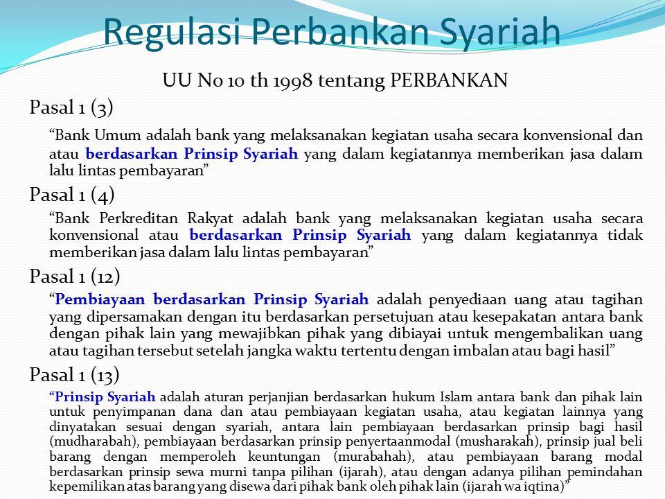 """Regulasi Perbankan Syariah UU No 10 th 1998 tentang PERBANKAN Pasal 1 (3) """"Bank Umum adalah bank yang melaksanakan kegiatan usaha secara konvensional"""