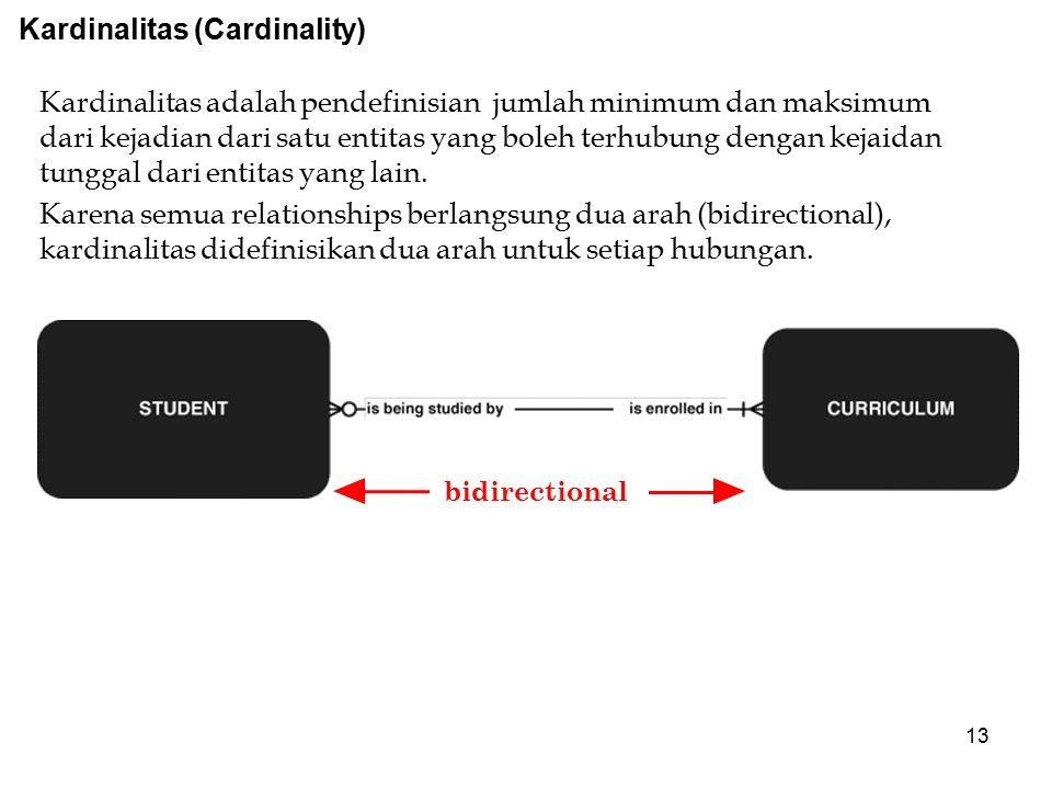 13 bidirectional Kardinalitas (Cardinality) Kardinalitas adalah pendefinisian jumlah minimum dan maksimum dari kejadian dari satu entitas yang boleh t