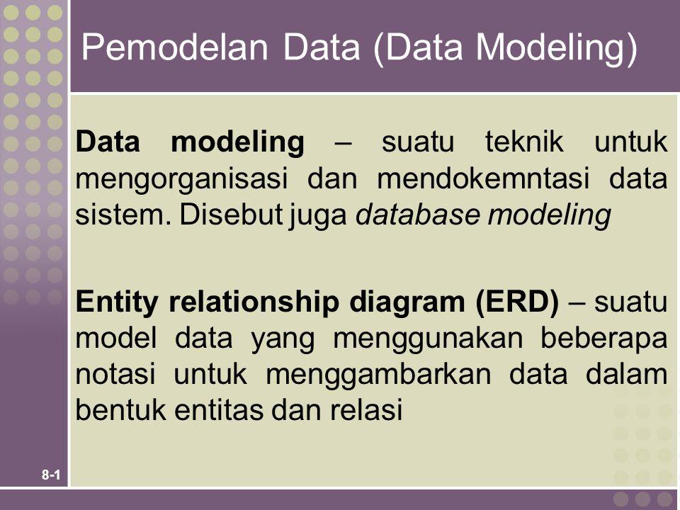 8-1 Pemodelan Data (Data Modeling) Data modeling – suatu teknik untuk mengorganisasi dan mendokemntasi data sistem.