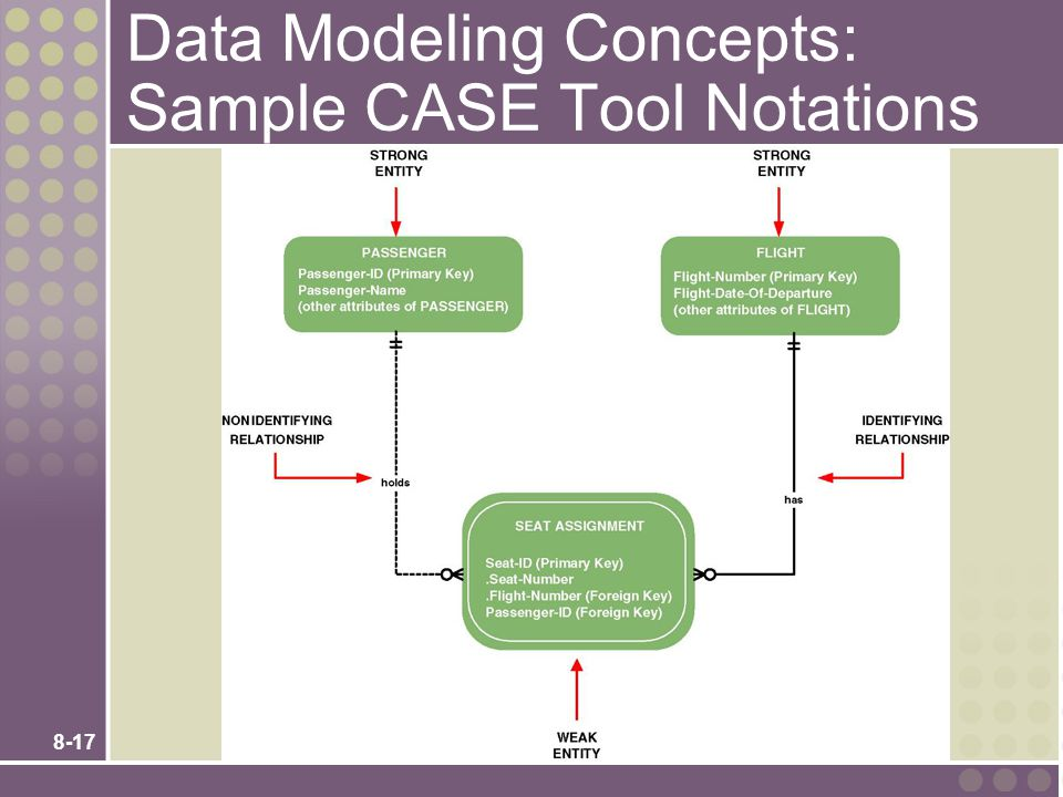 8-17 Data Modeling Concepts: Sample CASE Tool Notations