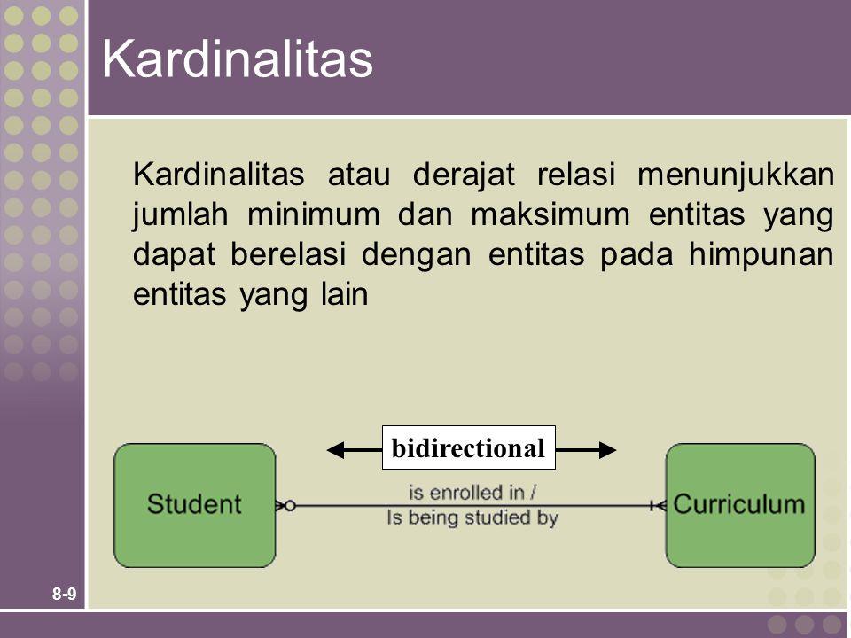 8-9 Kardinalitas Kardinalitas atau derajat relasi menunjukkan jumlah minimum dan maksimum entitas yang dapat berelasi dengan entitas pada himpunan entitas yang lain bidirectional