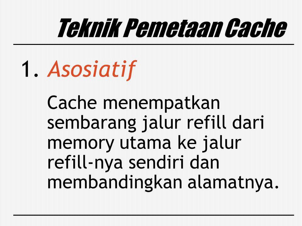 Teknik Pemetaan Cache 1. Asosiatif Cache menempatkan sembarang jalur refill dari memory utama ke jalur refill-nya sendiri dan membandingkan alamatnya.