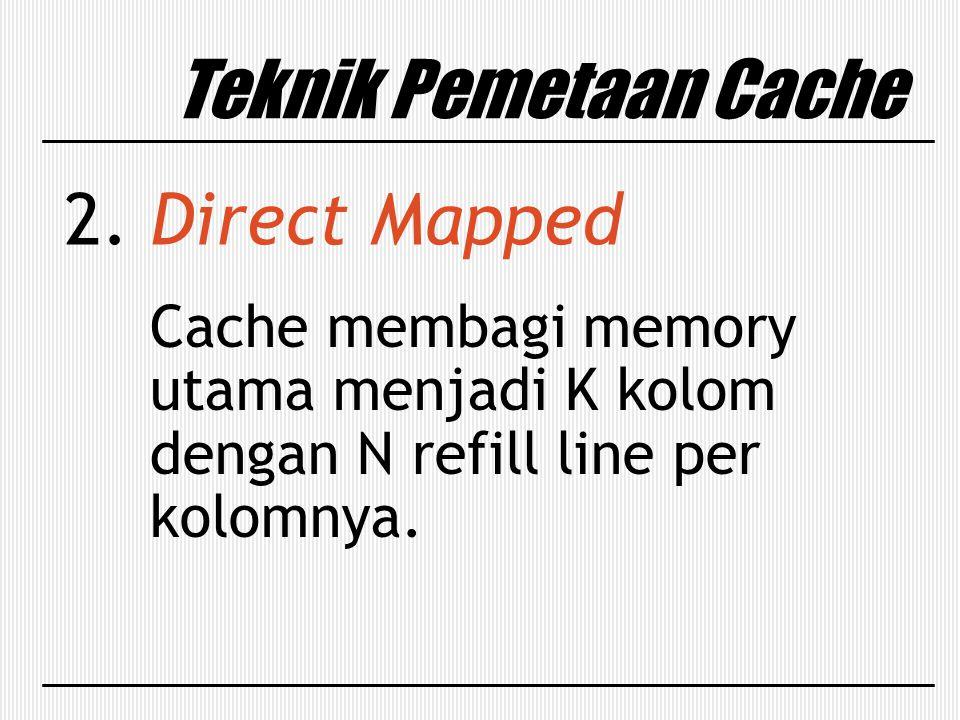 Teknik Pemetaan Cache 2. Direct Mapped Cache membagi memory utama menjadi K kolom dengan N refill line per kolomnya.