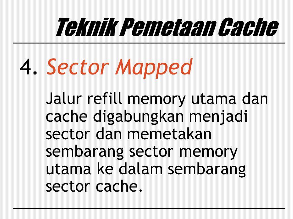 Teknik Pemetaan Cache 4. Sector Mapped Jalur refill memory utama dan cache digabungkan menjadi sector dan memetakan sembarang sector memory utama ke d