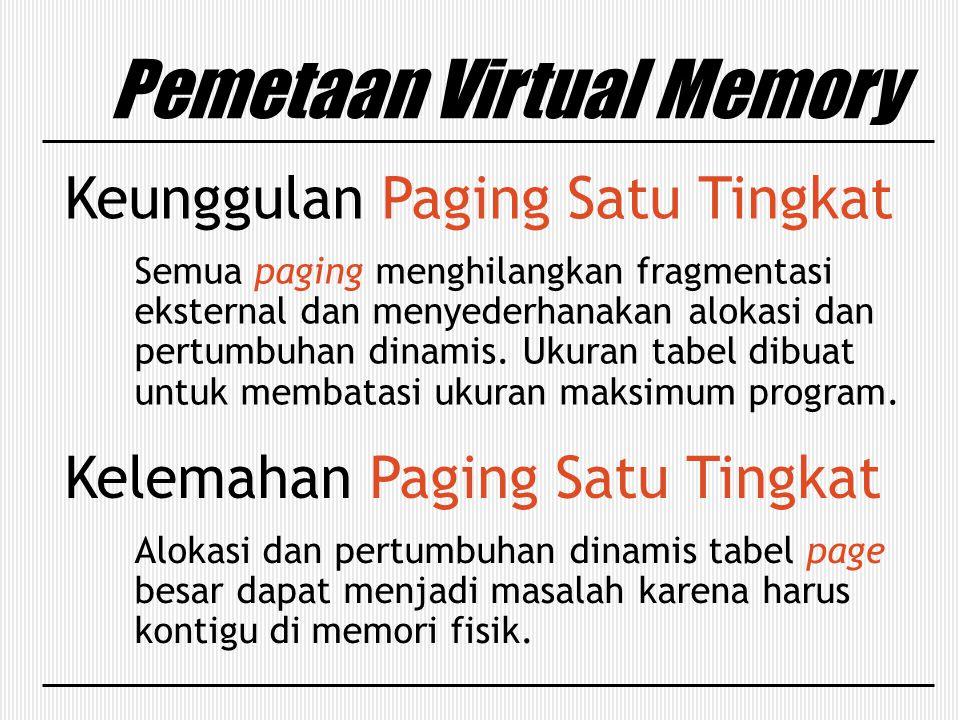 Pemetaan Virtual Memory Keunggulan Paging Satu Tingkat Semua paging menghilangkan fragmentasi eksternal dan menyederhanakan alokasi dan pertumbuhan di