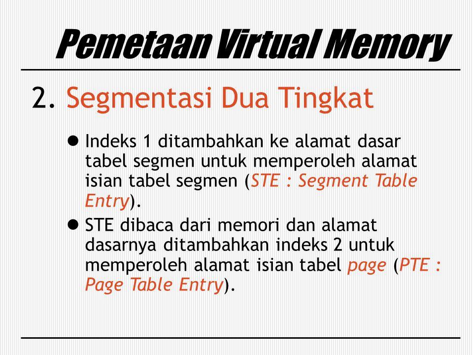 Pemetaan Virtual Memory 2. Segmentasi Dua Tingkat Indeks 1 ditambahkan ke alamat dasar tabel segmen untuk memperoleh alamat isian tabel segmen (STE :