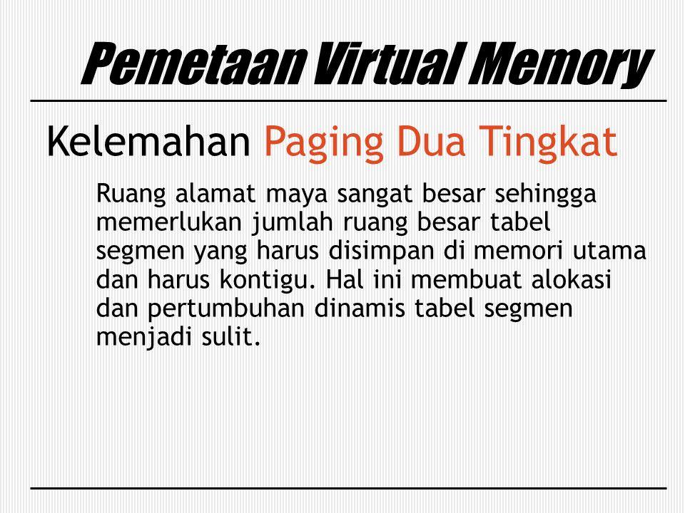 Pemetaan Virtual Memory Kelemahan Paging Dua Tingkat Ruang alamat maya sangat besar sehingga memerlukan jumlah ruang besar tabel segmen yang harus dis