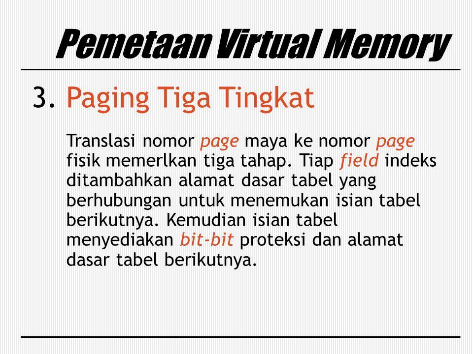Pemetaan Virtual Memory 3. Paging Tiga Tingkat Translasi nomor page maya ke nomor page fisik memerlkan tiga tahap. Tiap field indeks ditambahkan alama
