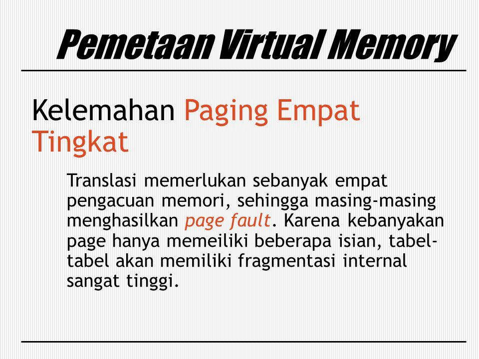 Kelemahan Paging Empat Tingkat Translasi memerlukan sebanyak empat pengacuan memori, sehingga masing-masing menghasilkan page fault. Karena kebanyakan