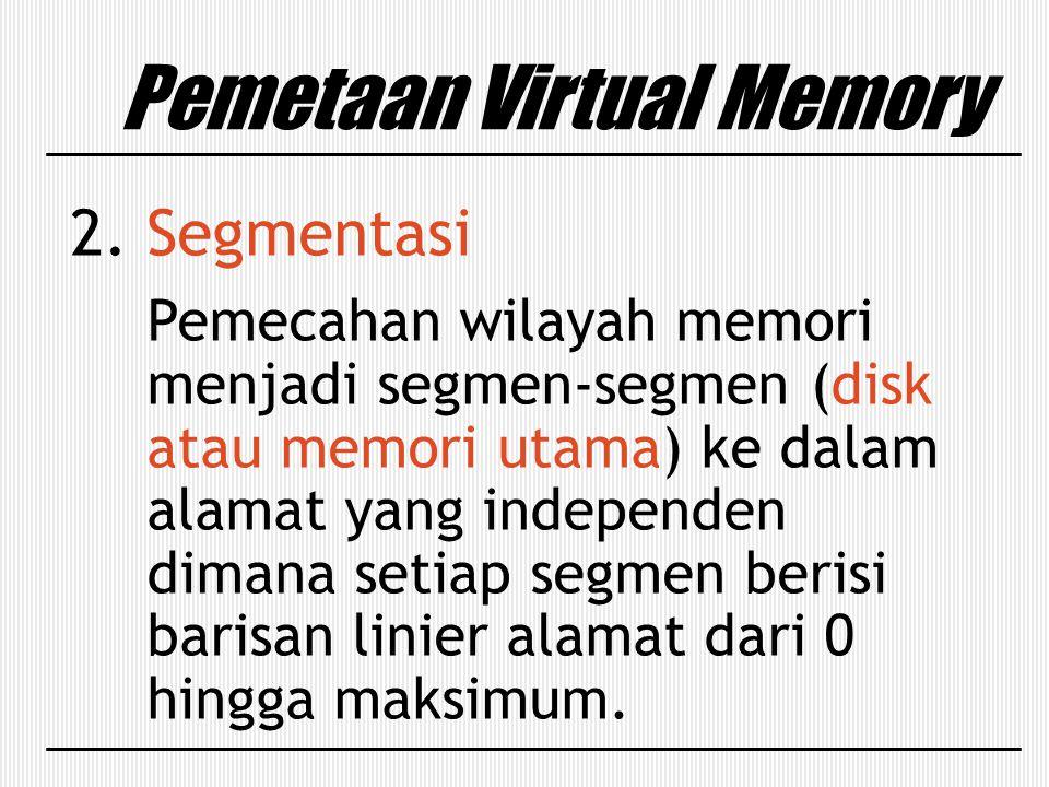2. Segmentasi Pemecahan wilayah memori menjadi segmen-segmen (disk atau memori utama) ke dalam alamat yang independen dimana setiap segmen berisi bari