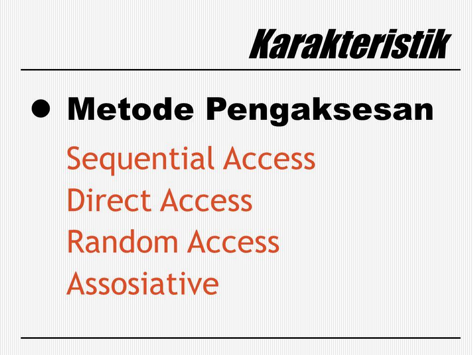 Metode Pengaksesan Karakteristik Sequential Access Direct Access Random Access Assosiative