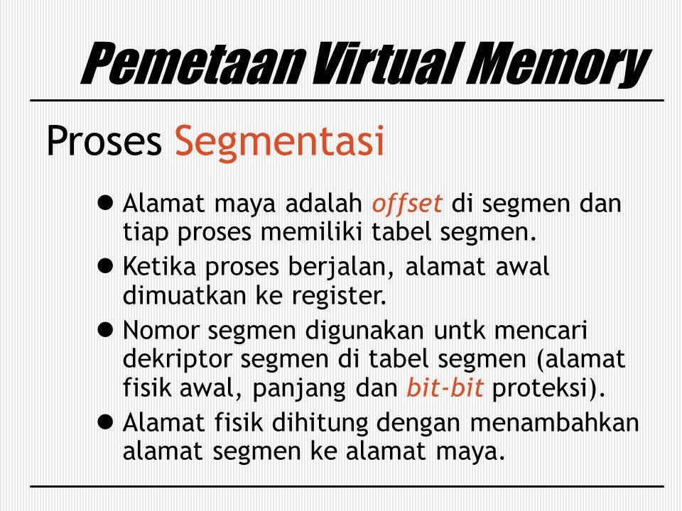 Pemetaan Virtual Memory Proses Segmentasi Alamat maya adalah offset di segmen dan tiap proses memiliki tabel segmen. Ketika proses berjalan, alamat aw