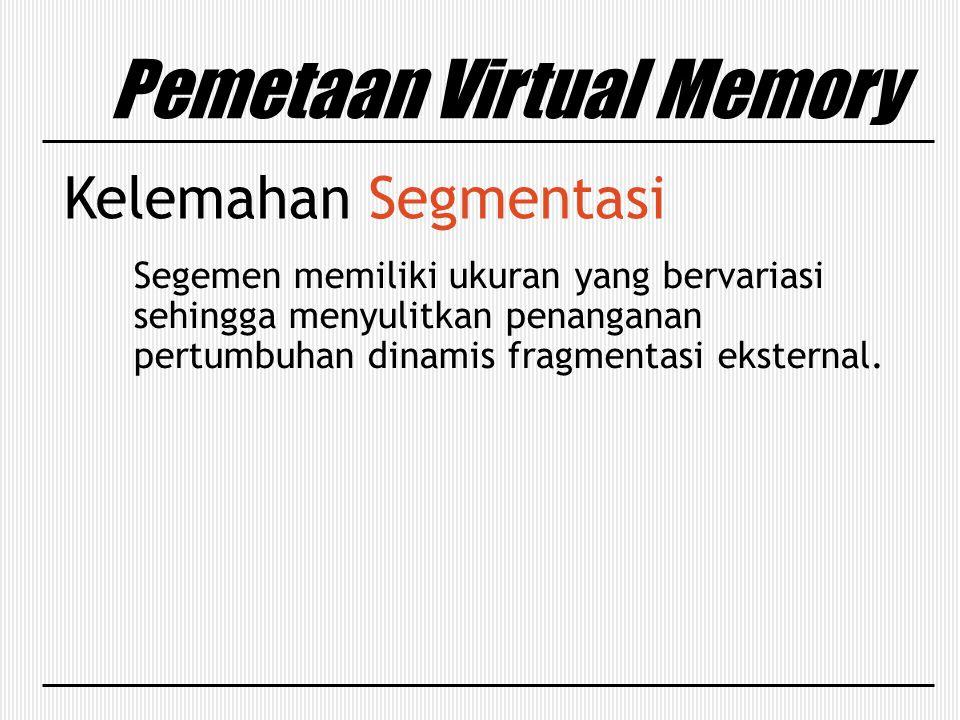 Pemetaan Virtual Memory Kelemahan Segmentasi Segemen memiliki ukuran yang bervariasi sehingga menyulitkan penanganan pertumbuhan dinamis fragmentasi e