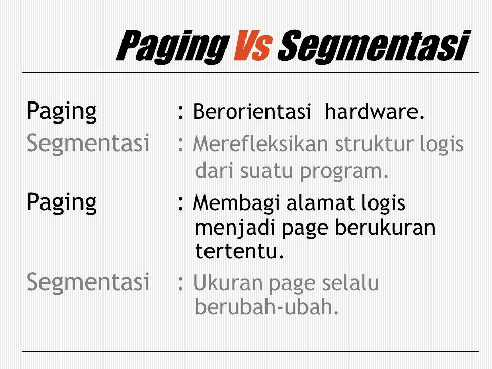 Paging Vs Segmentasi Paging : Berorientasi hardware. Segmentasi: Merefleksikan struktur logis dari suatu program. Paging: Membagi alamat logis menjadi