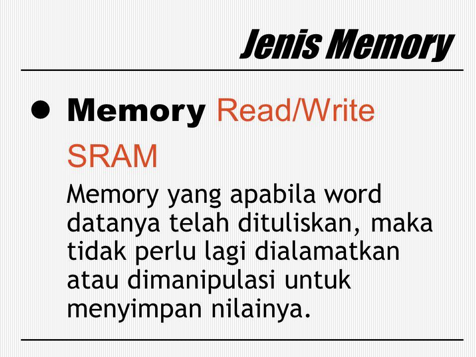 Jenis Memory Memory Read/Write SRAM Memory yang apabila word datanya telah dituliskan, maka tidak perlu lagi dialamatkan atau dimanipulasi untuk menyi