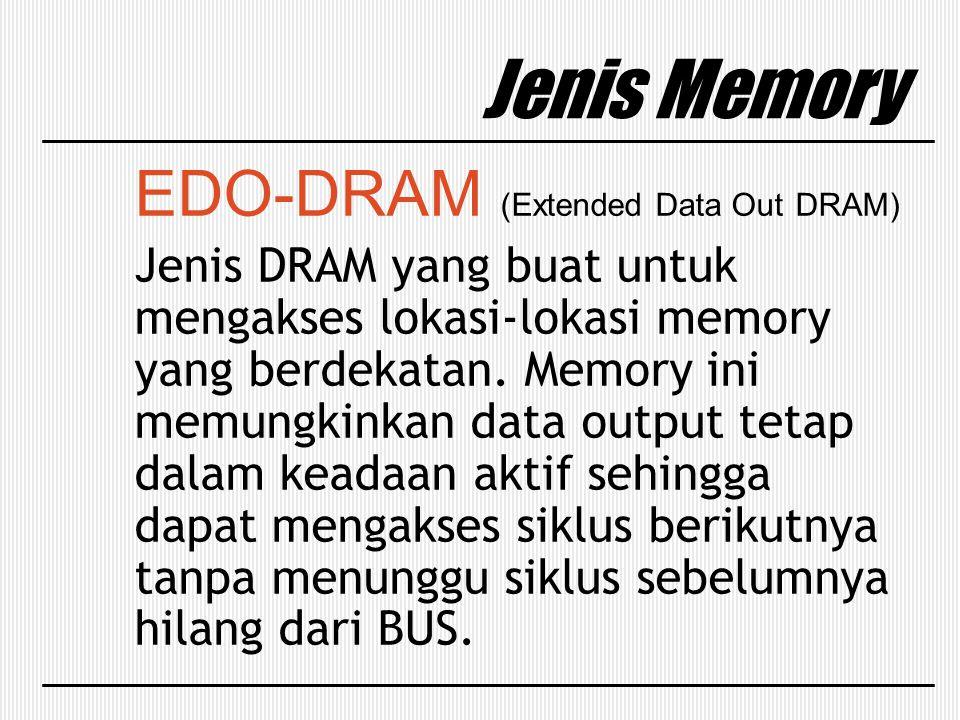 EDO-DRAM (Extended Data Out DRAM) Jenis DRAM yang buat untuk mengakses lokasi-lokasi memory yang berdekatan. Memory ini memungkinkan data output tetap