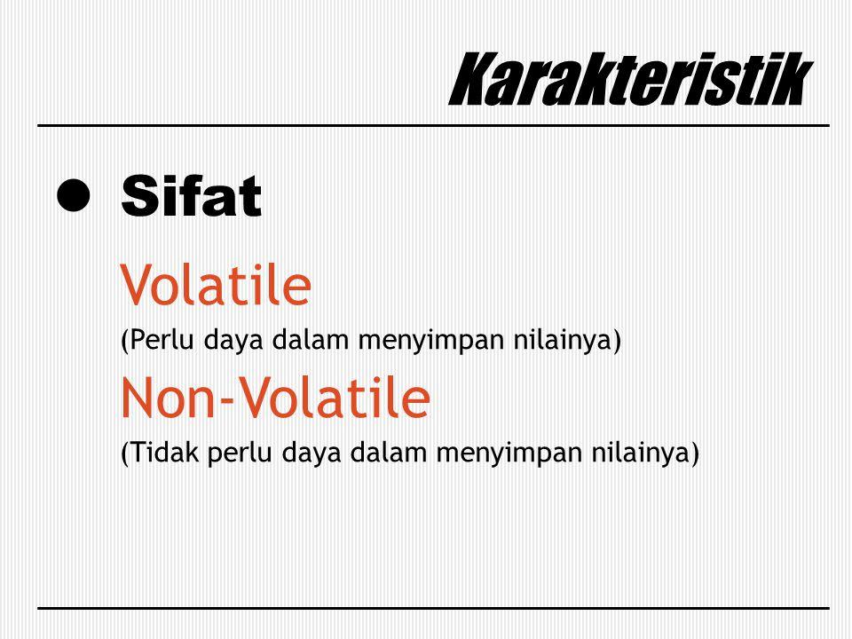 Sifat Karakteristik Volatile (Perlu daya dalam menyimpan nilainya) Non-Volatile (Tidak perlu daya dalam menyimpan nilainya)
