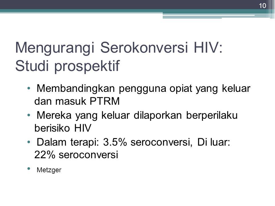 10 Mengurangi Serokonversi HIV: Studi prospektif Membandingkan pengguna opiat yang keluar dan masuk PTRM Mereka yang keluar dilaporkan berperilaku ber