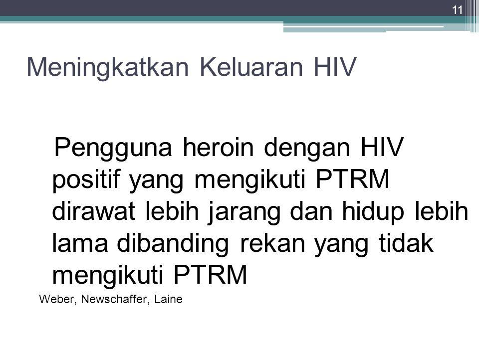 11 Meningkatkan Keluaran HIV Pengguna heroin dengan HIV positif yang mengikuti PTRM dirawat lebih jarang dan hidup lebih lama dibanding rekan yang tid