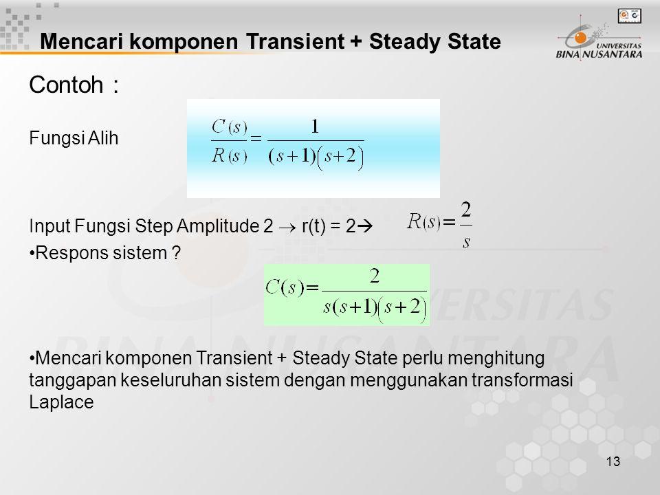 13 Contoh : Fungsi Alih Input Fungsi Step Amplitude 2  r(t) = 2  Respons sistem ? Mencari komponen Transient + Steady State perlu menghitung tanggap