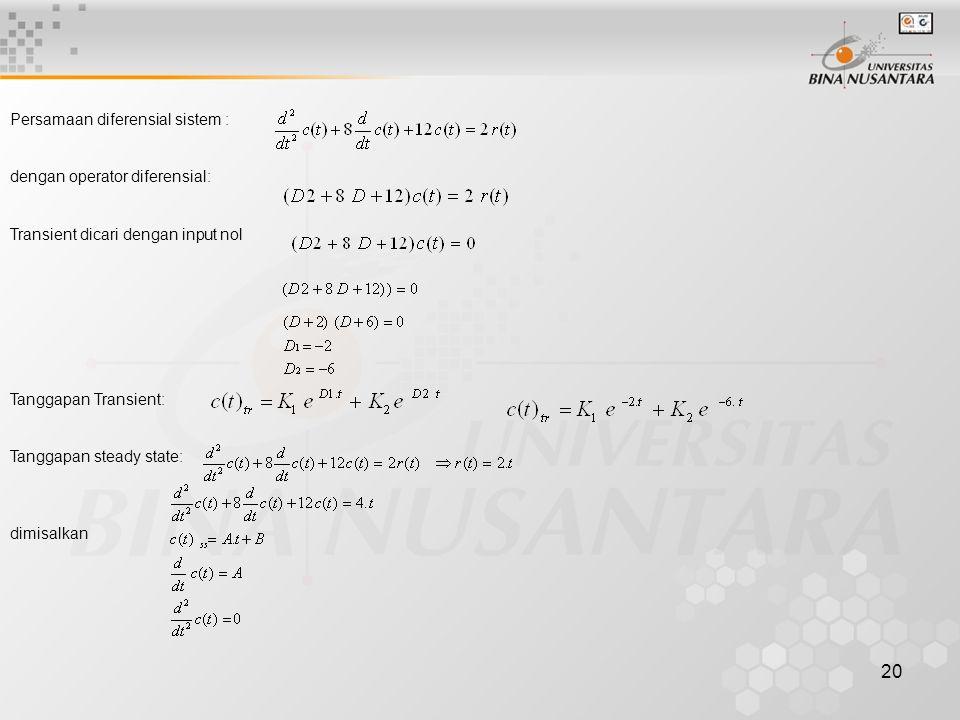 20 Persamaan diferensial sistem : dengan operator diferensial: Transient dicari dengan input nol Tanggapan Transient: Tanggapan steady state: dimisalk