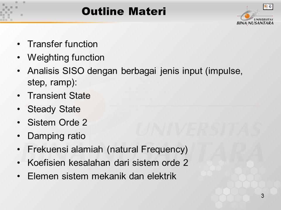 3 Outline Materi Transfer function Weighting function Analisis SISO dengan berbagai jenis input (impulse, step, ramp): Transient State Steady State Si