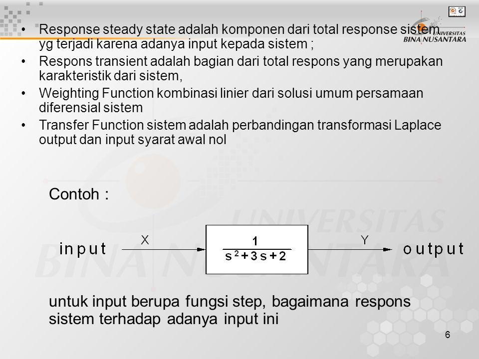 6 Response steady state adalah komponen dari total response sistem yg terjadi karena adanya input kepada sistem ; Respons transient adalah bagian dari