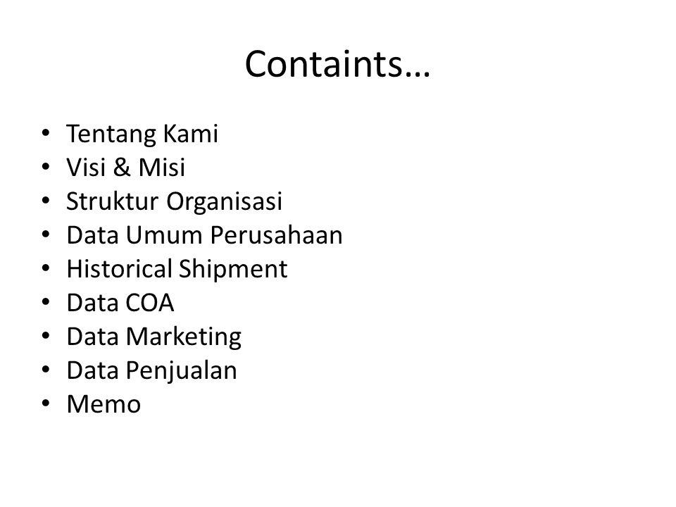 Containts… Tentang Kami Visi & Misi Struktur Organisasi Data Umum Perusahaan Historical Shipment Data COA Data Marketing Data Penjualan Memo