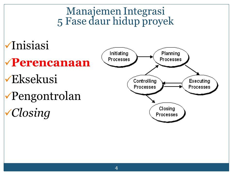 4 Manajemen Integrasi 5 Fase daur hidup proyek Inisiasi Perencanaan Eksekusi Pengontrolan Closing