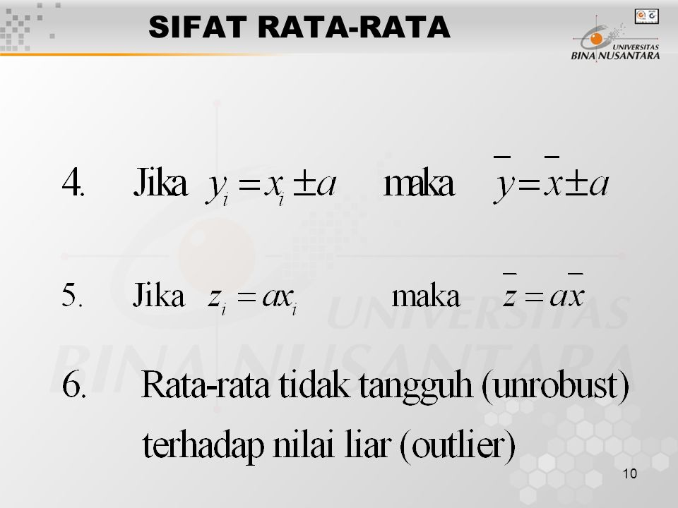 10 SIFAT RATA-RATA