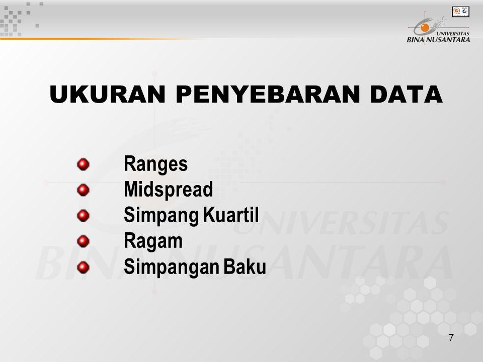 8 RATA-RATA (MEAN) Untuk data individual : Untuk data berkelompok :