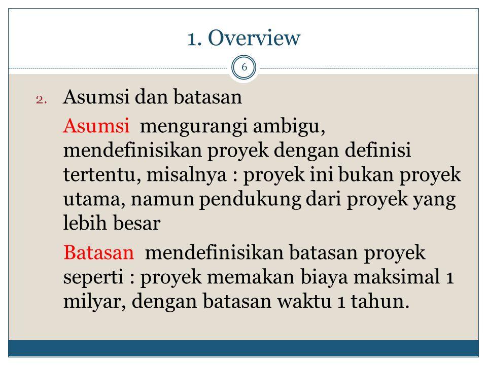 1. Overview 6 2. Asumsi dan batasan Asumsi mengurangi ambigu, mendefinisikan proyek dengan definisi tertentu, misalnya : proyek ini bukan proyek utama