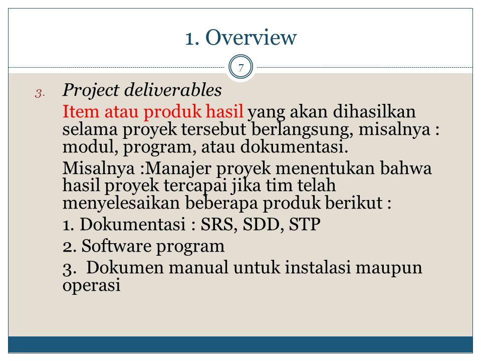 1. Overview 7 3. Project deliverables Item atau produk hasil yang akan dihasilkan selama proyek tersebut berlangsung, misalnya : modul, program, atau