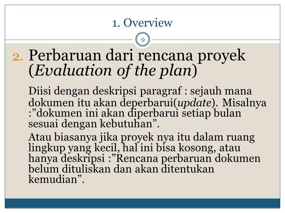 1. Overview 9 2. Perbaruan dari rencana proyek (Evaluation of the plan) Diisi dengan deskripsi paragraf : sejauh mana dokumen itu akan deperbarui(upda